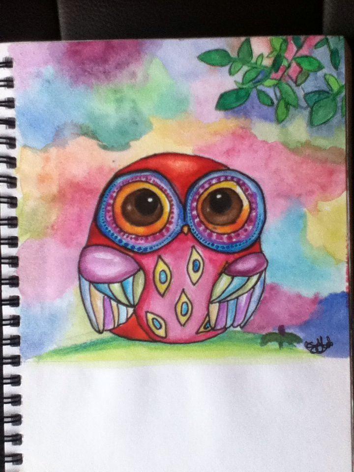 Spring owl watercolour, inspired by Anya Kai's Autumn Owl