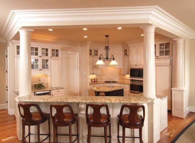 Kitchen Islands With Columns Lower Levels Kitchen