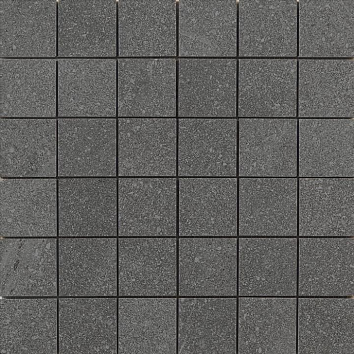 Anubis dark grey mosaic tiles match beautifully with the dark grey porcelain tiles. These modern dark grey wall tiles look great as feature walls or splashbacks in kitchens and bathrooms.