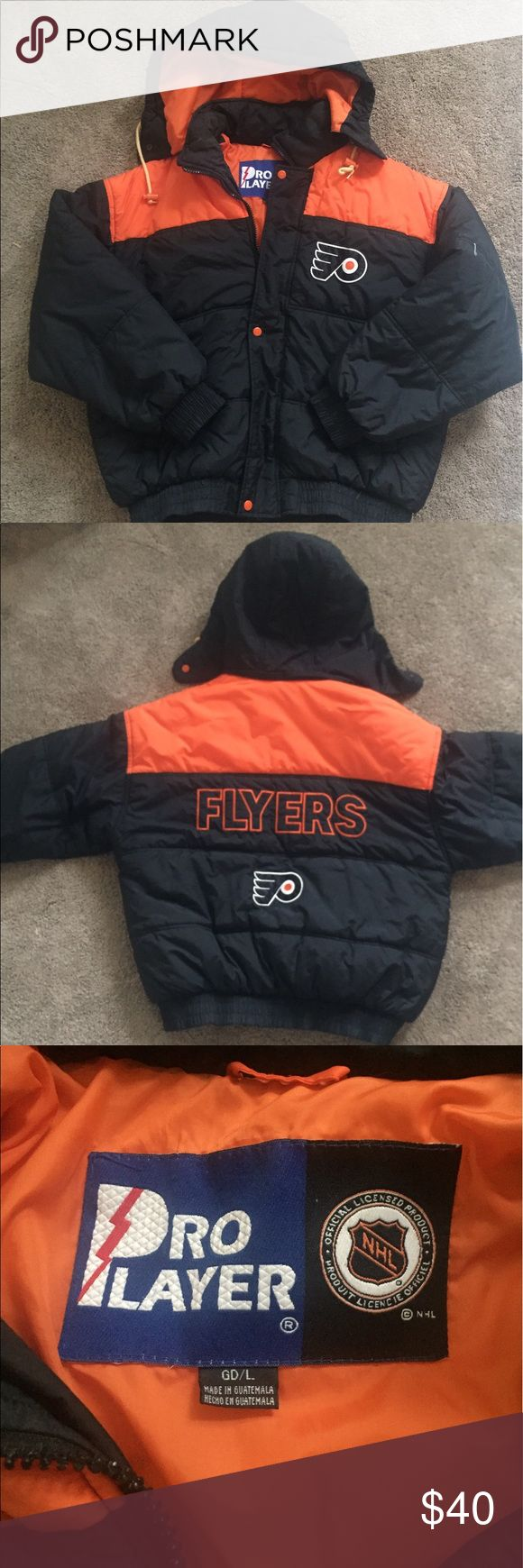 Vintage Pro Player Philadelphia Flyers Jacket L For sale is a 90s vintage Pro Player Philadelphia Flyers winter jacket. This item is in great condition and super puffy. It is a size Large. Pro Player Jackets & Coats Puffers