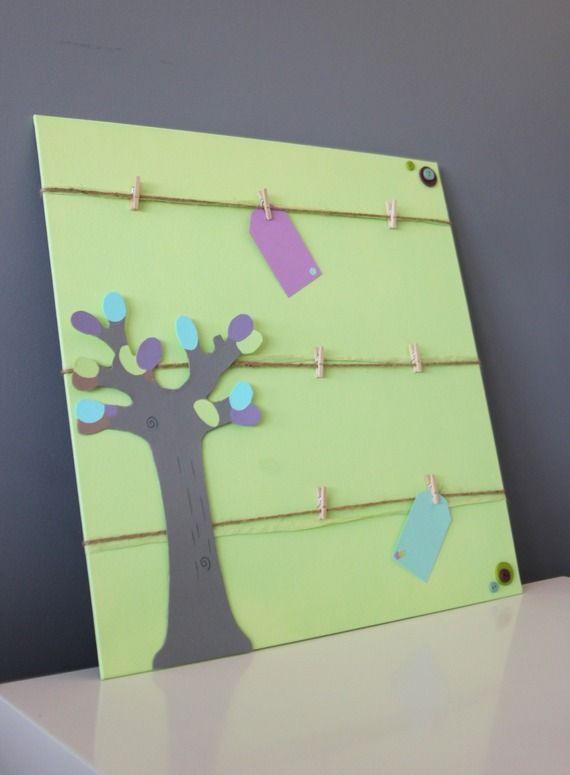 Cadre pêle-mêle photos et souvenirs ~ Décoration chambre enfant / bébé ~ Thème vert anis et gris