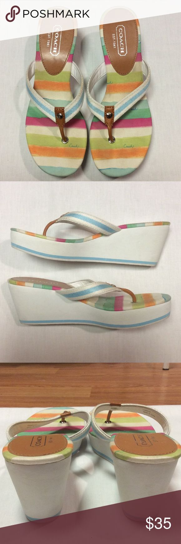 Coach Wedges Sandals Slides Thongs Authentic Coach Wedges -excellent condition. Flip flop style. Pastel striped fabric footbed. Heel/sole is made of a foam type rubber material. Please enlarge pics for any imperfections - nothing noticeable when worn but must mention. Bundle and save! Coach Shoes Wedges