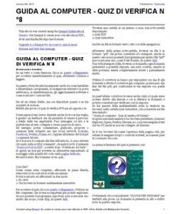 QUIZ DI VERIFICA N°8 (PDF). Quiz per verificare le nozioni apprese dalla lezione 71 alla 80.