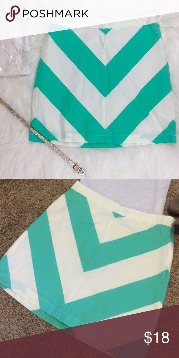"Bass & Co. Turquoise Chevron Skirt G.H. Bass & Co. beautiful chevron skirt. Fully lined, Length is 17"". Side zip. Bass Skirts"