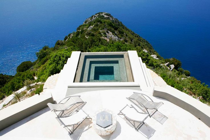 Pool with contrasted Colours at Villa with breathtaking views over Myrtos Beach on Kefalonia Island, Greece