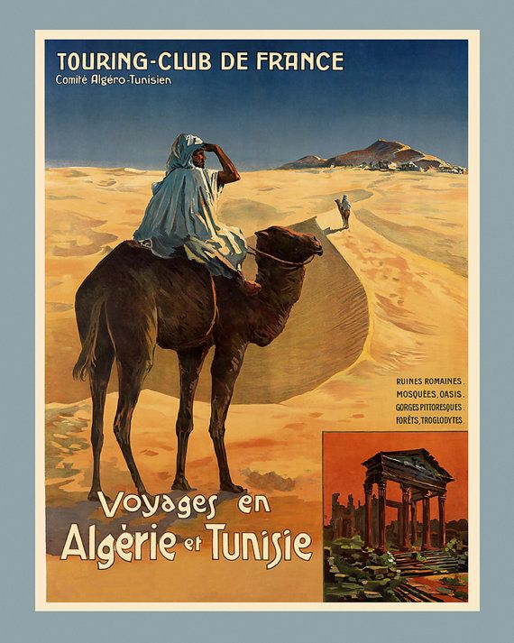 alg rie d sert chameau alger algerie tunisie tunisie voyage fin affiche vintage repro livraison. Black Bedroom Furniture Sets. Home Design Ideas