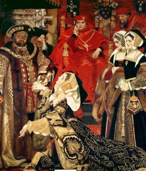 Katherine of Aragon kneeling before Henry VIII. at their divorce hearing.