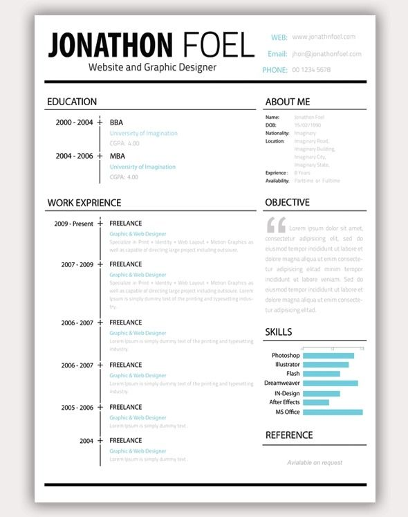 94 best Resume insperation images on Pinterest Creative - How To Open A Resume Template In Word 2007