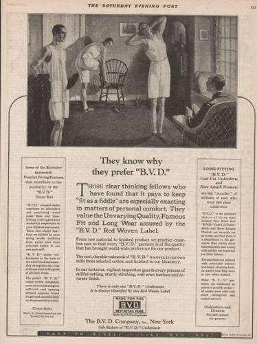 1923 Vintage BVD Underwear Union Suit Undershirt Knee Drawers Men Fashion ad