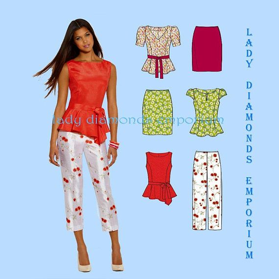 New Look 6130 Womens Peplum Top Slim Pants Pencil Skirt Tie Belt size 8 10  12