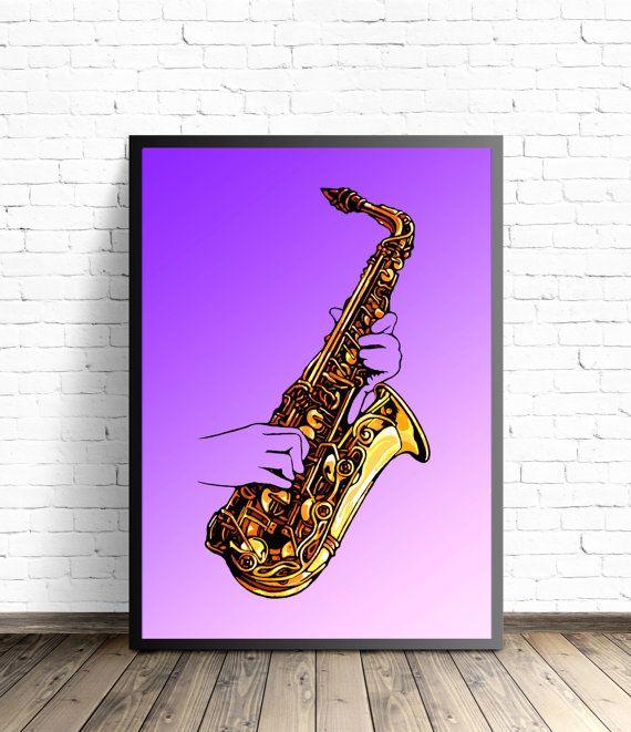 Kunst aan de muur saxofoon Jazz Wall Decor, saxofoon illustratie, Decor van het huis van de muziek, Jazz Art Print, Jazz muziek Poster Print, saxofoon schilderij