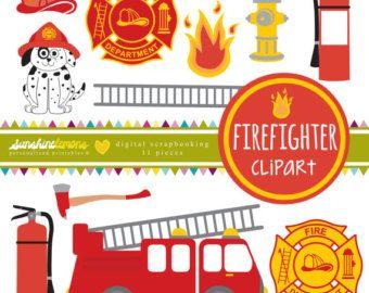 Firefighter Clipart  Fireman Clipart  Fire Station by CinnamonDove