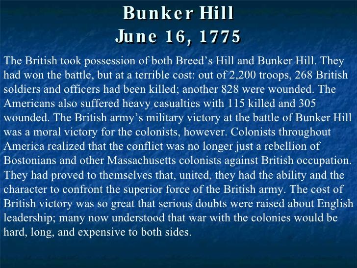 the effect of battle on breeds hill on the american revolution Battle of bunker hill the battle of bunker breed's hill portrait to franklin was associated in many minds with the dependent chapter of american.