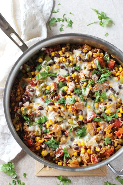 Skillet Mexican Brown Rice Casserole + 4 other delicious recipes in this week's Vegetarian Winter meal plan | Rainbow Delicious