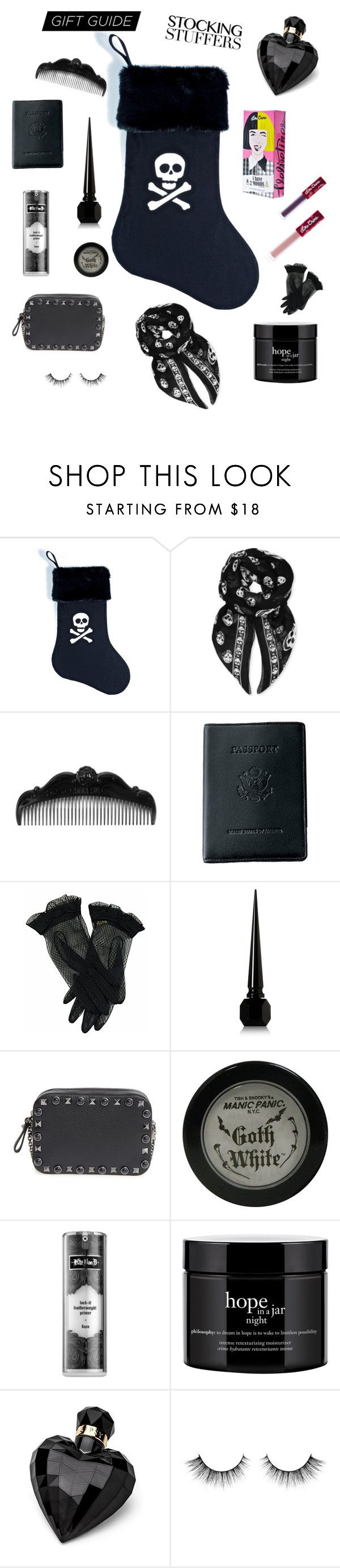 """Stoking stuffers"" by wittethefox ❤ liked on Polyvore featuring Working Class Punx, Alexander McQueen, Anna Sui, Royce Leather, Christian Louboutin, Valentino, Manic Panic NYC, Kat Von D, philosophy and Lipsy"