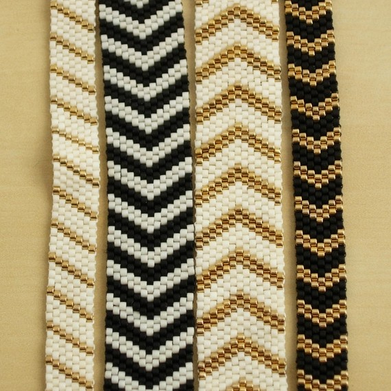 Chevron Bracelet Small  Black and Gold by littlelintu on Etsy,