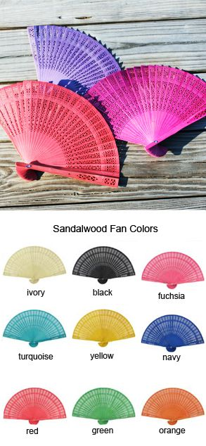 Spanish inspired fans in the wedding colors on every chair.