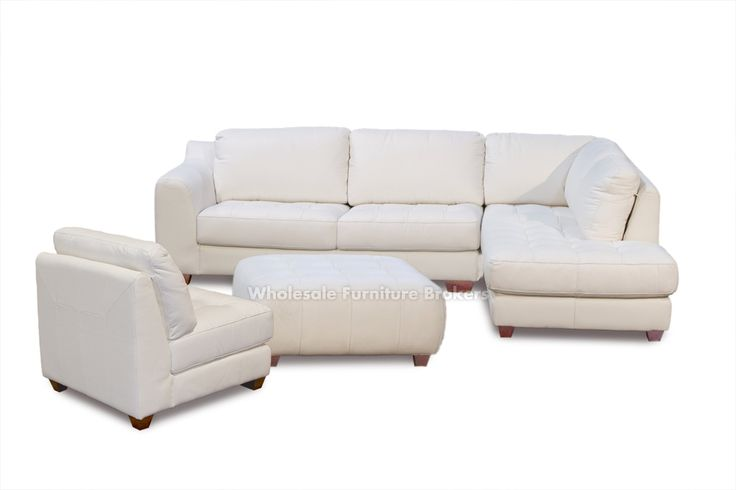 Zen White Leather Sectional Sofa with Chaise RAF and Armless Chair