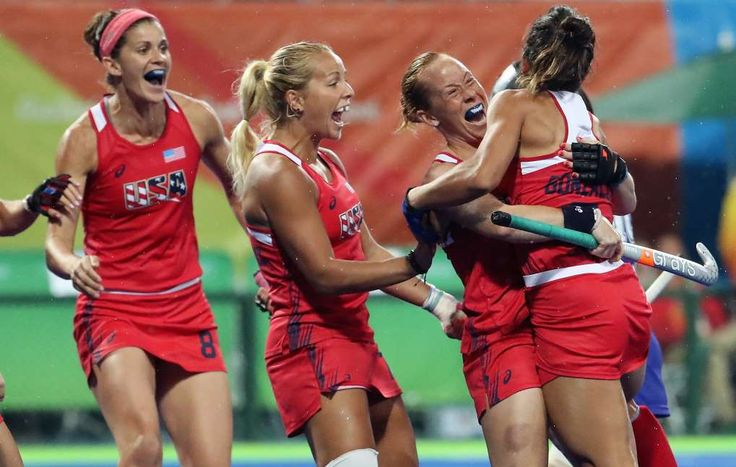 Seven biggest surprises of the 2016 Summer Olympic Games:      7. U.S. women's field hockey team channeling 'Miracle on Ice' without the ice  -  August 12, 2016  -     United States defender Lauren Crandall (27) hugs midfielder Melissa Gonzalez (5) as teammates join in after a score against Japan in a women's Pool B hockey game at Olympic Hockey Centre during the Rio 2016 Summer Olympic Games.