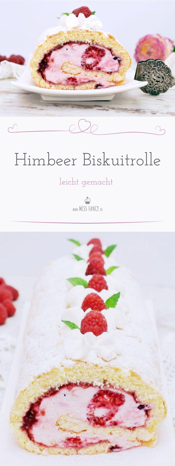 Hier habe ich ein wirklich super easy Rezept für  eine leckere Himbeer Biskuitrolle mit Quark für Dich. In kaum einer  Stunde hast Du ein super Dessert gezaubert und dazu ist es noch  gelingsicher!! #Himbeeren #biskuit #raspberry