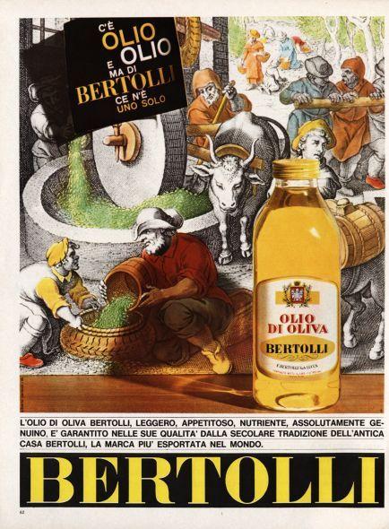 La pubblicità dell'olio Bertolli in una immagine degli anni '60