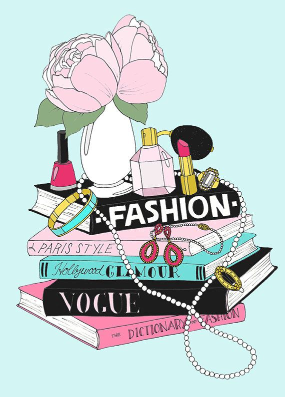 Fashion Book Stack Mini Poster by emmakisstina on Etsy, kr300.00