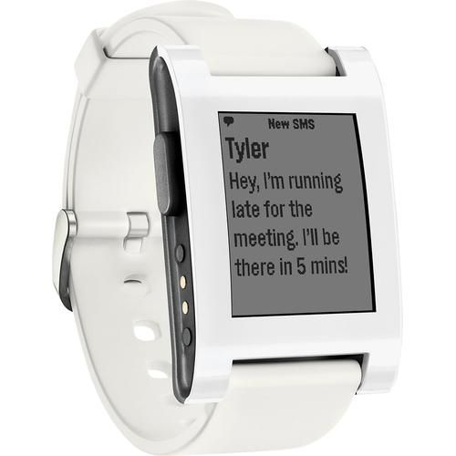 Pebble - Smart Watch for Select iOS and Android Devices - White - Larger Front