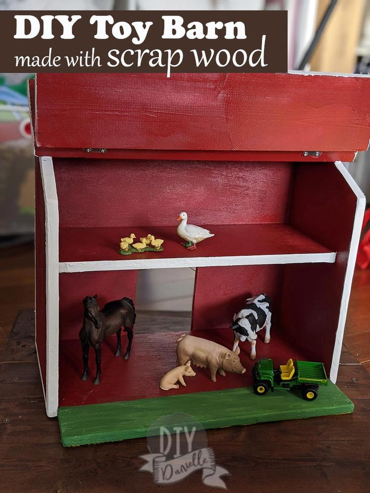 Diy toy barn from wood scrap get the free plans toy