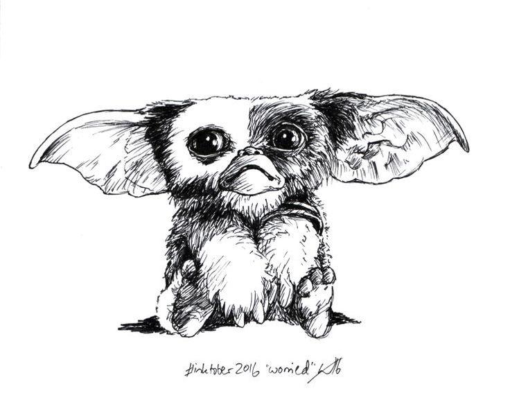 """Inktober 2016 art challenge day 12: """"worried"""".  Gizmo, Gremlins.  #inktober #inktober2016"""