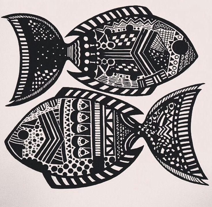 Zentangle zodiac art - Pisces (First trial) (Made with Black posca pen)  #PLKdesign