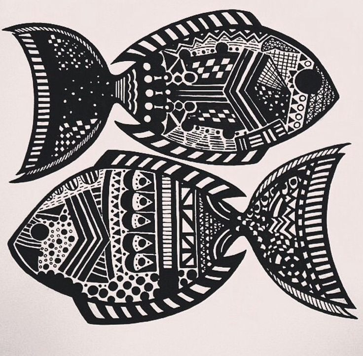 Zentangle zodiac art - Pisces (First trial) (Made with Black posca pen)  #PLKdesign
