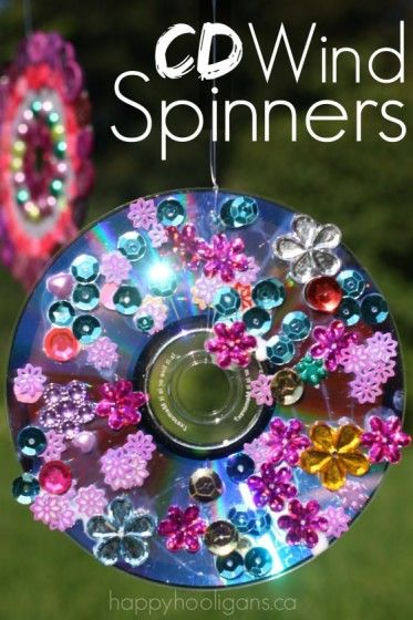Vibrant CD Wind Spinners Made from Old CDs