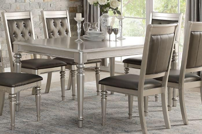 Silver Wooden Finish Rectangular Dining Table Dining Table