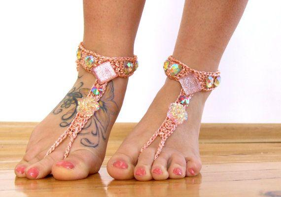 Perzik Barefoot Sandals voet juwelen leggings van ZAPrix op Etsy