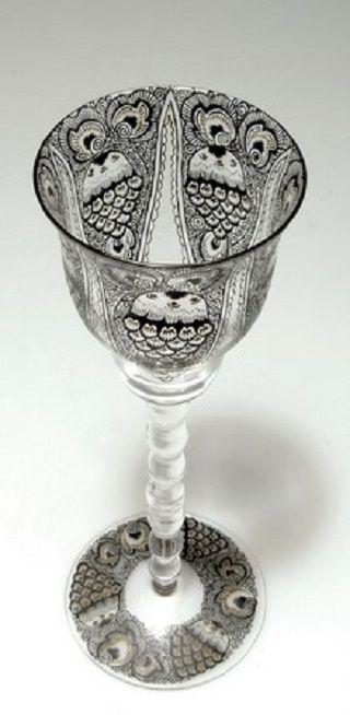 Karl Massanetz. Decorative glass, 1914. H. 24.7 cm. Made by J. & L. Lobmeyr, Vienna.