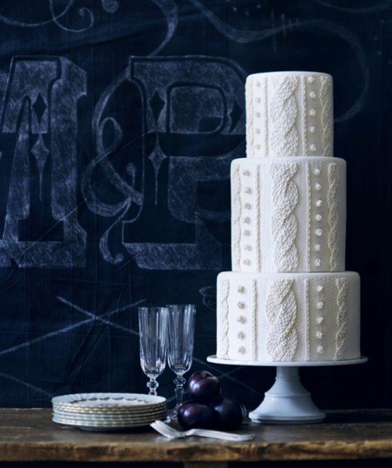 Tiered White Knit Wedding Cake