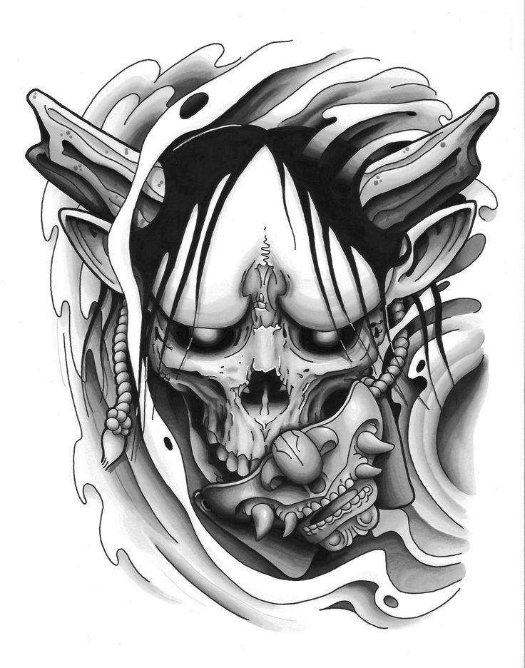 Hannya Mask tattoo design black and grey