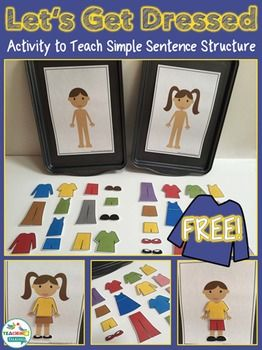 Vocabulary Printables - Let's Get Dressed - File Folder Game by teachingtalking.com