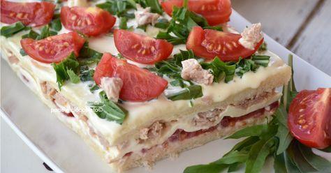 Torta di pancarre fredda con tonno e pomodorini