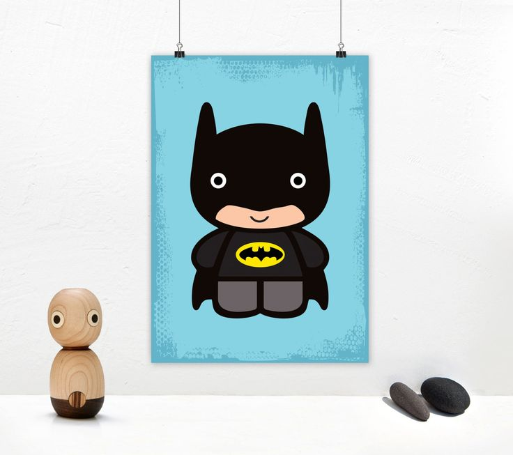 Batman baby art print. Superhero illustration with cute Batman baby. Poster design for instant download. Size A4 & A3. by GraphicCorner on Etsy