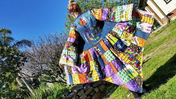 wonderland rainbow festival coat.... recycled.. patchwork denim jacket