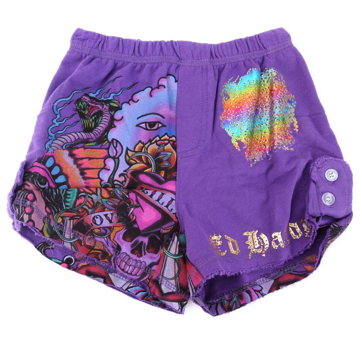 Ed Hardy Girls Tab Shorts – Purple