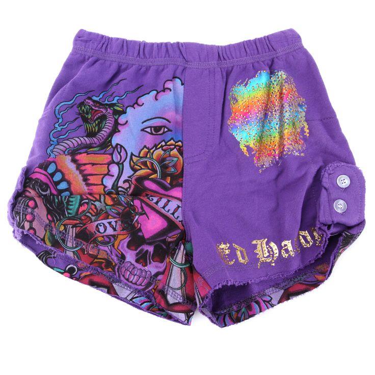 Ed Hardy Girls Tab Shorts – Purple