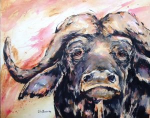 Sunset Buffalo, acrylic on canvas board by Lin Barrie
