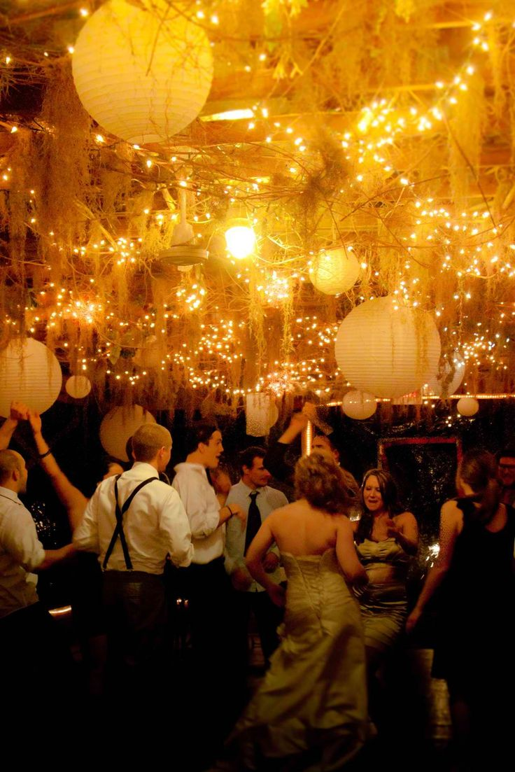 love the romantic ceiling decorations at this reception!