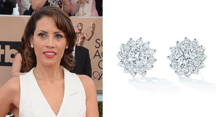 """Orange is the New Black's Elizabeth Rodriguez donned Forevermark's """"Cluster Flower"""" diamond stud earrings."""