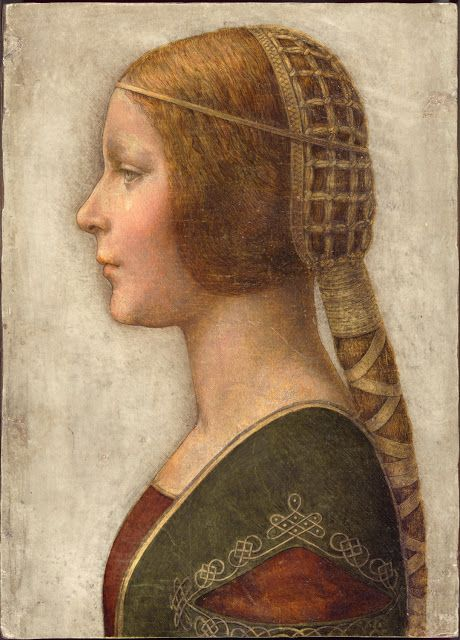 This beautiful chalk and ink portrait is of Bianca Sforza, drawn at the time of her marriage aged 14. It is very possibly by Leonardo da Vinci, who was working for the Sforzas in Milan at the time.