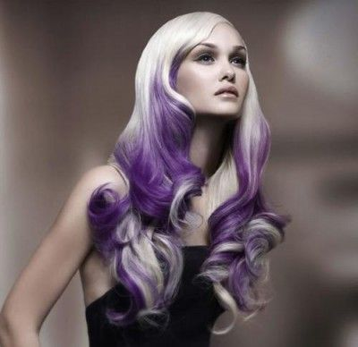 Long #platinum and #purple #lilac #hair #bright #dyed