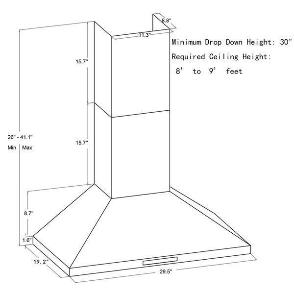Akdy Rh0228 30 Wall Mount Range Hood Steel Wall Ductless