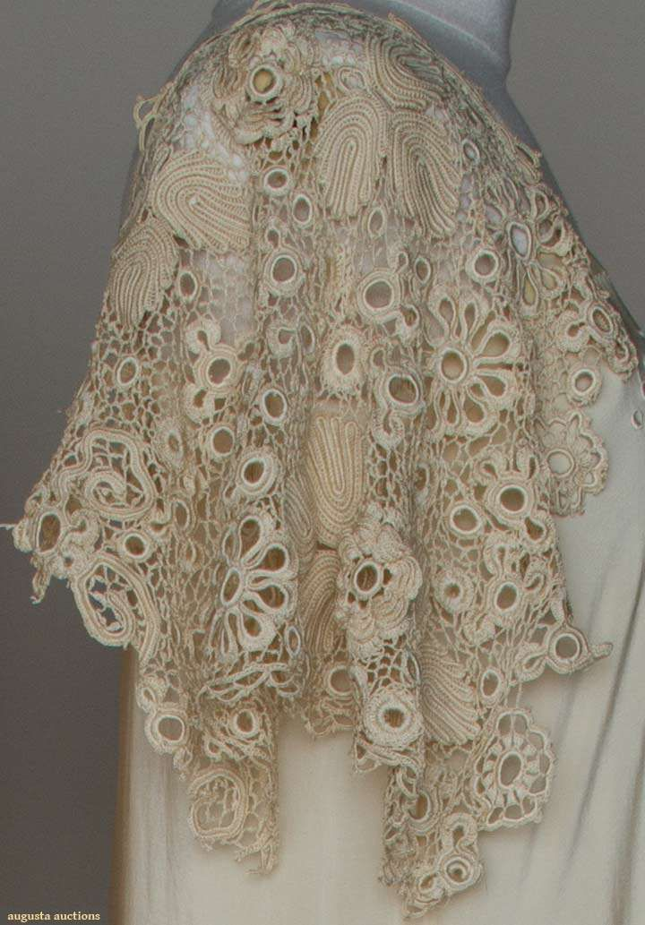 TWO PIECES SILK LINGERIE, c. 1910 1 pink charmeuse peignoir w/ pink & pale green embroidery, 1 cream China silk negligee, cream embroidery & silk Irish crochet sleeve & hem trims. Detail